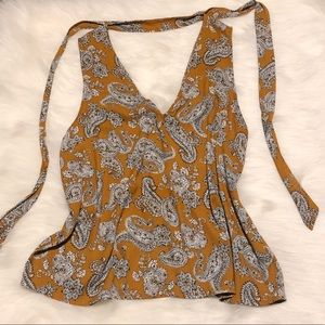 Forever 21 Mustard paisley tank with tie detail